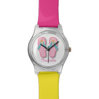 ピンクの夏のフリップフロップ 腕時計