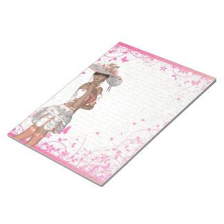 ピンクの夏の女の子 ノートパッド