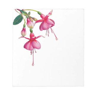 ピンクの大げさに同情する人の花の葉 ノートパッド
