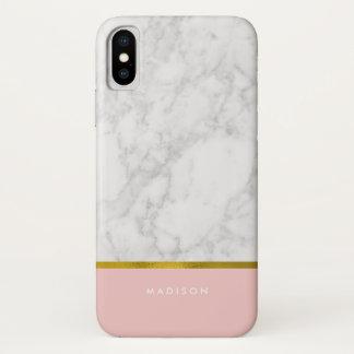 ピンクの大理石パターンおよび模造のな金ゴールドホイル iPhone 8/7ケース
