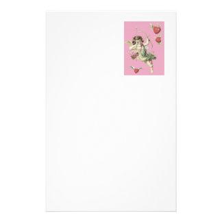 ピンクの天使のキューピッドのハートの弓矢 便箋