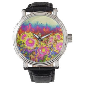 ピンクの太陽のなヒマワリ 腕時計