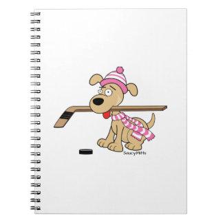ピンクの女の子のホッケーの漫画のホッケー犬 ノートブック