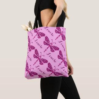 ピンクの女の子の一流のトンボパターン名前入りなバッグ トートバッグ