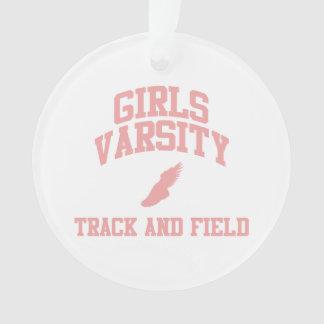 ピンクの女の子の学校代表の陸上競技 オーナメント