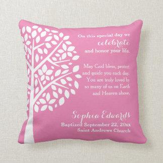 ピンクの女の子の洗礼の《キリスト教》洗礼式や命名式の天恵の祈りの言葉 クッション