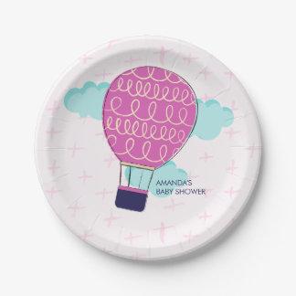 ピンクの女の子の熱気の気球のベビーシャワーのパーティー ペーパープレート