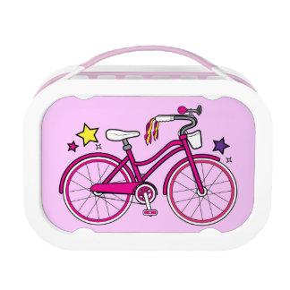 ピンクの女の子の自転車 ランチボックス