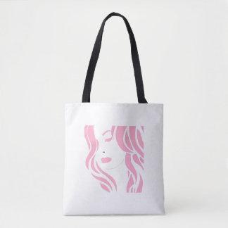 ピンクの女の子 トートバッグ