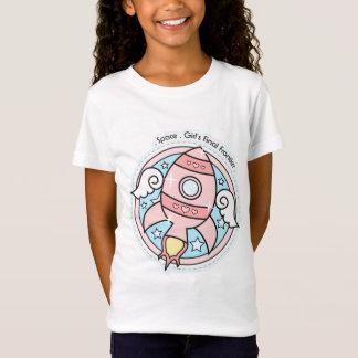 ピンクの女の子Rocketship Tシャツ