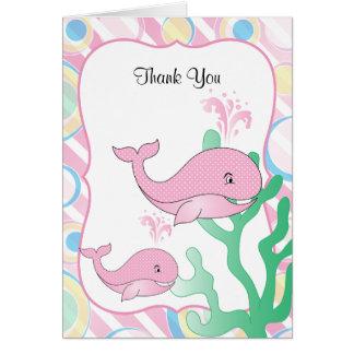 ピンクの女の赤ちゃんのクジラのベビーシャワー カード