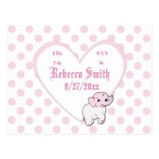 ピンクの女の赤ちゃん象のハートおよび水玉模様 ポストカード