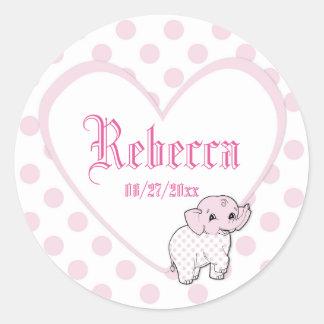 ピンクの女の赤ちゃん象のハートおよび水玉模様 ラウンドシール