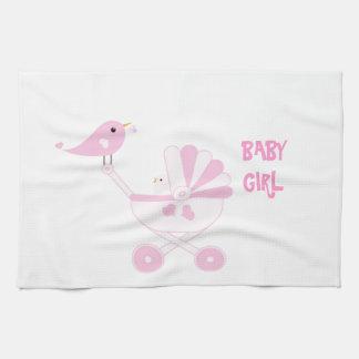 ピンクの女の赤ちゃん キッチンタオル