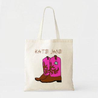 ピンクの女性のカーボーイの名前のテンプレートのバッグ トートバッグ