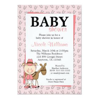 ピンクの女性のカーボーイの蹄鉄のベビーシャワー招待状 カード