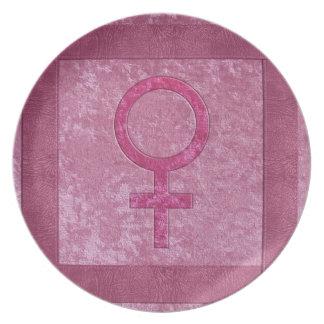 ピンクの女性の記号 プレート