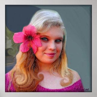 ピンクの女性 ポスター
