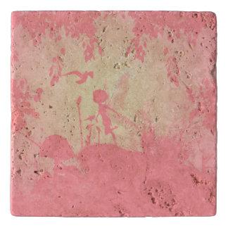 ピンクの妖精のシルエット トリベット