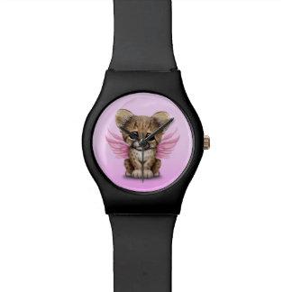 ピンクの妖精の翼を持つかわいいチータカブス 腕時計