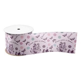ピンクの妖精、蝶およびカラフルの水玉模様 サテンリボン