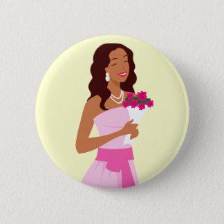 ピンクの婚礼衣裳ボタン 缶バッジ