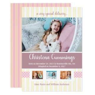 ピンクの子供部屋のストライプな採用の発表 カード