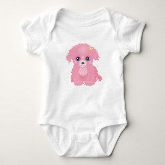 ピンクの子犬の乳児のクリーパー ベビーボディスーツ