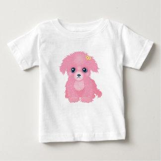 ピンクの子犬の乳児のTシャツ ベビーTシャツ