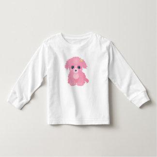 ピンクの子犬の長袖のTシャツ トドラーTシャツ