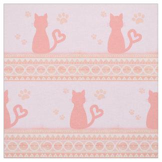 ピンクの子猫の生地 ファブリック