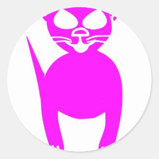 ピンクの子猫 ラウンドシール