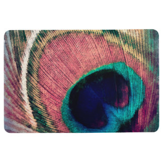 ピンクの孔雀の羽の上品 フロアマット