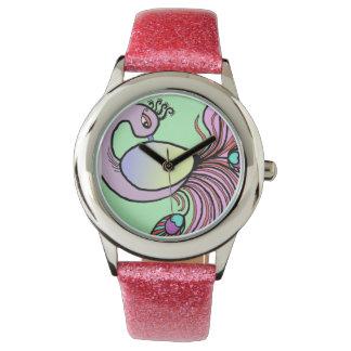 ピンクの孔雀の腕時計 腕時計
