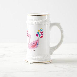 ピンクの孔雀 ビールジョッキ