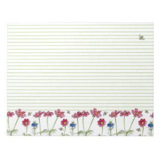 ピンクの宇宙の水彩画によっては並ぶ蜂蜜の蜂が開花します ノートパッド