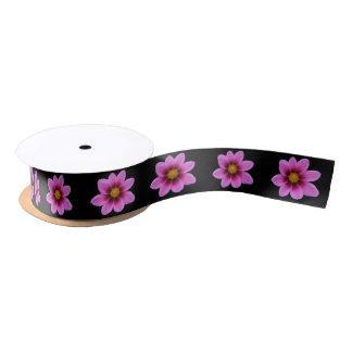 ピンクの宇宙の花 サテンリボン