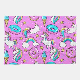 ピンクの安っぽくきらびやかでおもしろいなユニコーンおよび子猫 キッチンタオル
