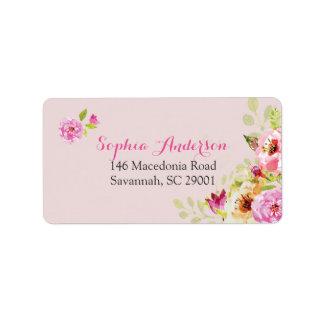 ピンクの宛名ラベルでかわいらしい ラベル
