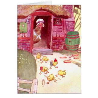 ピンクの家の監視ひよこの雌鶏 カード