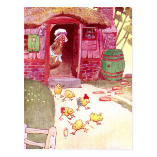 ピンクの家の監視ひよこの雌鶏 ポストカード