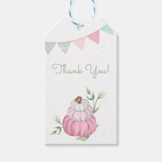 ピンクの小さいカボチャパッチはギフトのラベル感謝していしています ギフトタグ