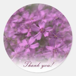 -ピンクの小さい花が付いているステッカーありがとう ラウンドシール