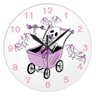 ピンクの小さい骨組子供部屋の柱時計 ラージ壁時計
