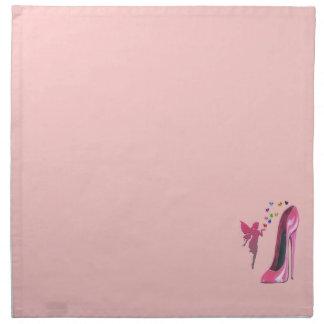 ピンクの小剣および妖精のハートのアメリカ人MoJo Napki ナプキンクロス