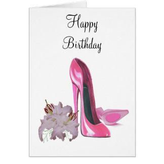 ピンクの小剣靴およびユリ カード