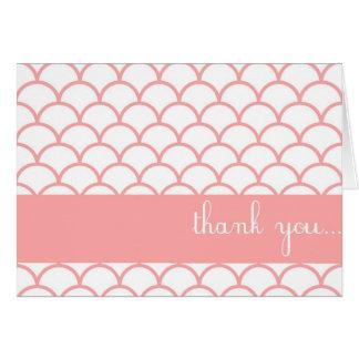 ピンクの帆立貝の端のカスタマイズ可能なサンキューカード カード
