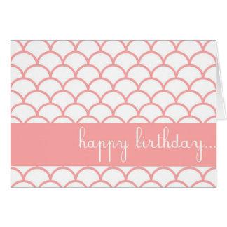 ピンクの帆立貝の端のカスタマイズ可能なハッピーバースデーカード カード