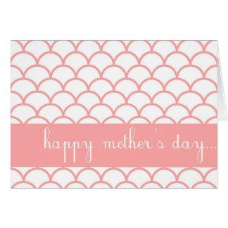 ピンクの帆立貝の端のカスタムで幸せな母の日カード カード