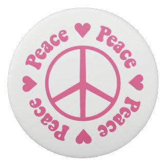 ピンクの平和および愛 消しゴム